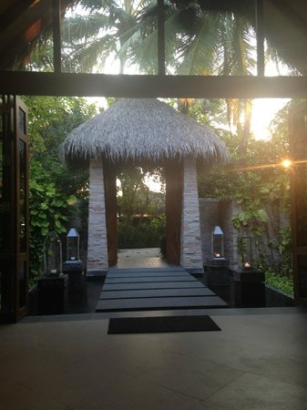 Baros Maldives: In the spa lobby, looking outwards