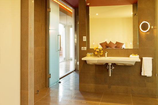 Collage bathroom with double shower, spa jets and heated floors ...