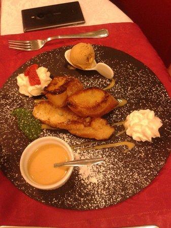 La Musardiere : Menu 15.90 mon dessert : brioche perdue au caramel beurre salé avec sa glace beurre salé et chan