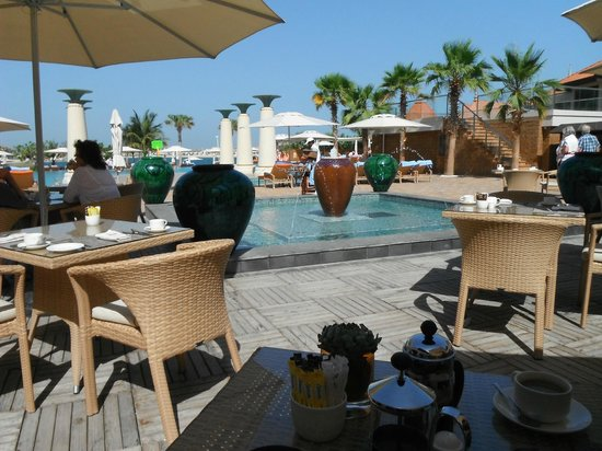View from breakfast table to pool area
