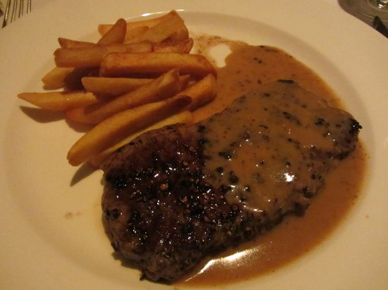 The Trysting Place, Rendezvous Resort: French-style steak with green peppercorns finished with brandy & cream