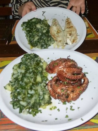 Pivnica Dubrava: Grilled sea bass and octopus w/ swiss chard potatoes
