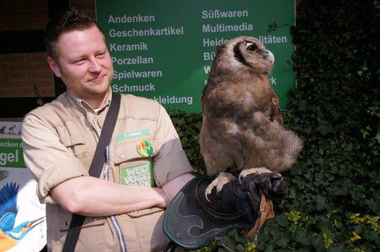 Weltvogelpark Walsrode: Uhe auf dem Arm eines Trainers