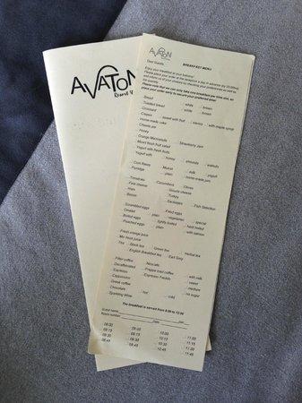 Avaton Resort: Bestellkarte Frühstück