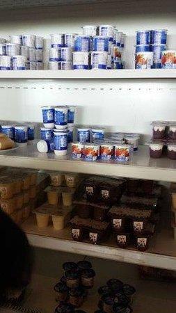 David Dead Sea Resort & Spa : fridge full of yoghurts during breakfast