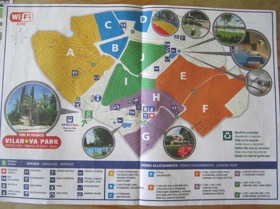 Vilanova Park: plan Villanova park Chalet S600 dans le triangle B (résa Camping n°1)