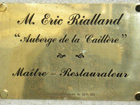 Auberge de la Caillere: titre maître restaurateur