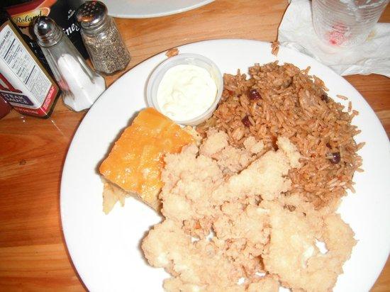 Arawak Cay: Cracked conch, peas & rice, macaroni, & pina colada
