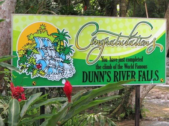 Dunn's River Falls and Park : Sign at the top when you've completed the climb