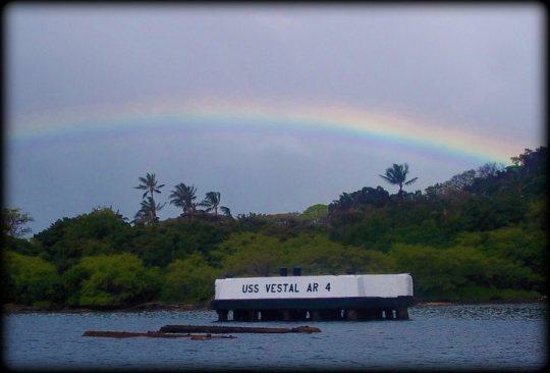 USS Arizona Memorial/WW II Valor in the Pacific National Monument : It rained the day we were there, so the rainbow is real.