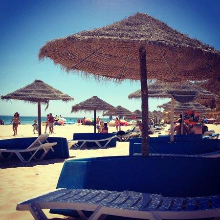 Salema Beach Club: Beach umbrellas and sun-beds on Salema beach