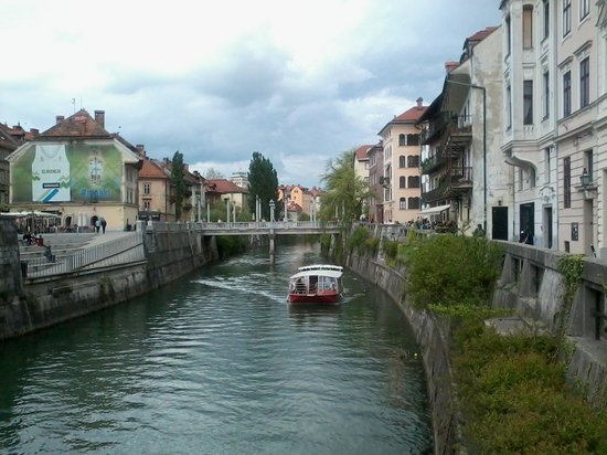 Ljubljana Old Town: View from our boat trip.