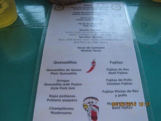 Omni Cancun Resort & Villas: Viva Mexico menu