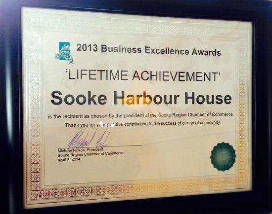 Sooke Harbour House Resort Hotel : Awards 2014 'Lifetime Achievement '