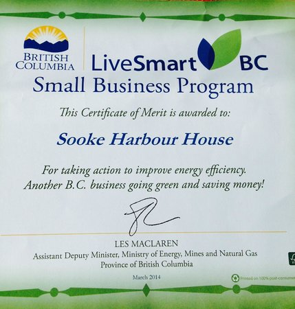 Sooke Harbour House Resort Hotel : Awards 2014'GREEN' award