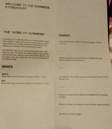 The Brewer's Dining Hall - Guinness Storehouse: Carta de la cena