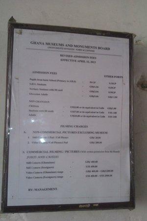 Cape Coast Castle: Price List