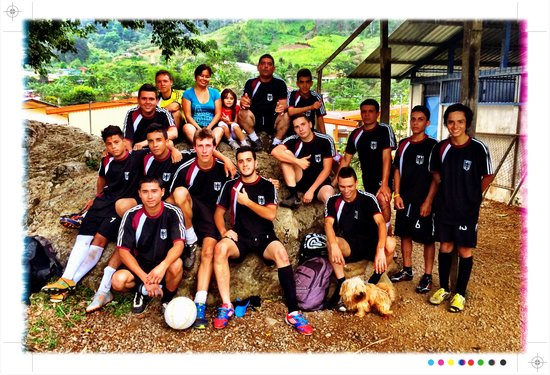 Rancho Naturalistas guides Harry and Juan Carlos with the Rancho Naturalista Soccer Team in the