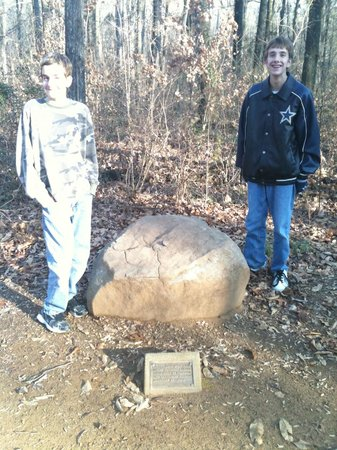 Lincoln Boyhood National Memorial: One of the stones on the walking trail. I think this one is from Gettysburg.
