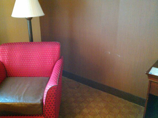 Comfort Inn & Suites: Wall paper scuffed and gaudy furniture