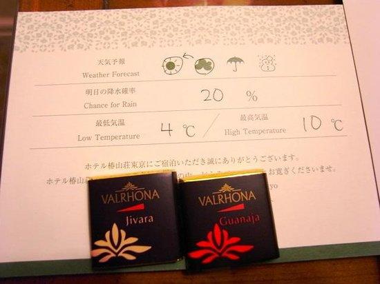 Hotel Chinzanso Tokyo: 天気予報カードと添えられたチョコ
