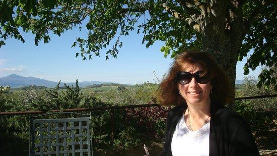View of the Val d'Orcia and Pienza from Ristorante La Chiusa.