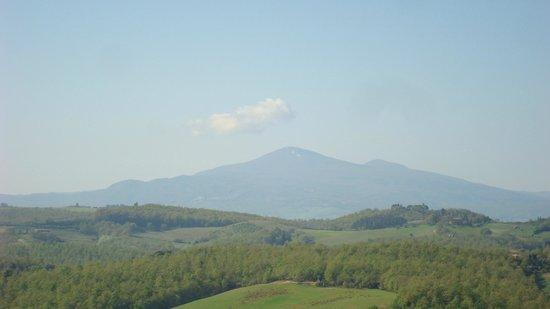 La Chiusa: View of Monte Amiata from the La Terrazza suite.