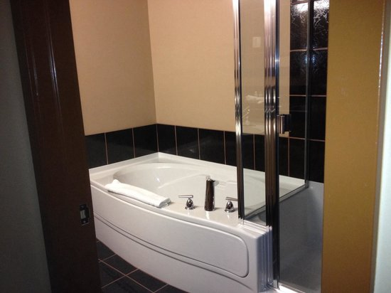 Podollan Inn & Spa : Separate tub and glass shower in large bathroom