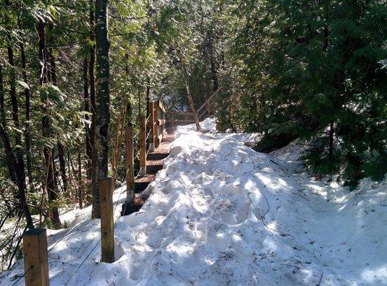 Parc de la Falaise et la Chute Kabir Kouba: Snowy steps in May at Chute Kabir Kouba