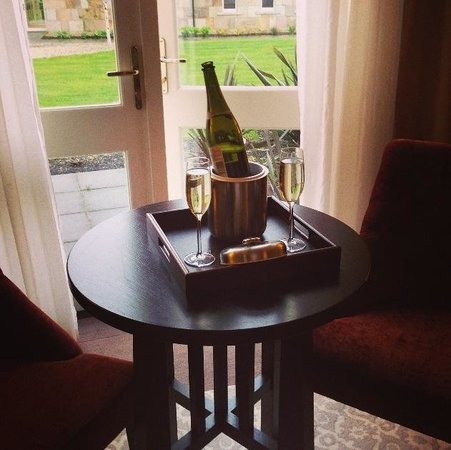 Lough Eske Castle, a Solis Hotel & Spa: Deluxe room with doors onto gardens and straight across from Solis Spa