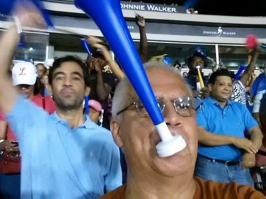 Quisqueya Stadium: Me blowing a horn at Quisqueya