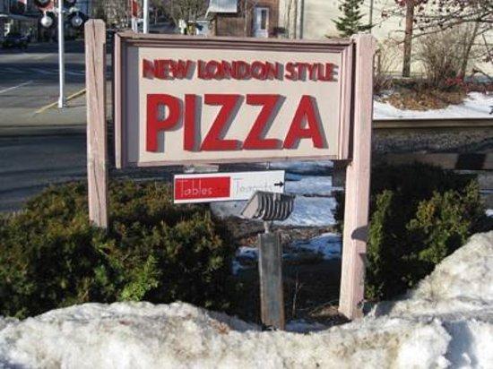 Acton New London Style Pizza: Sign from street