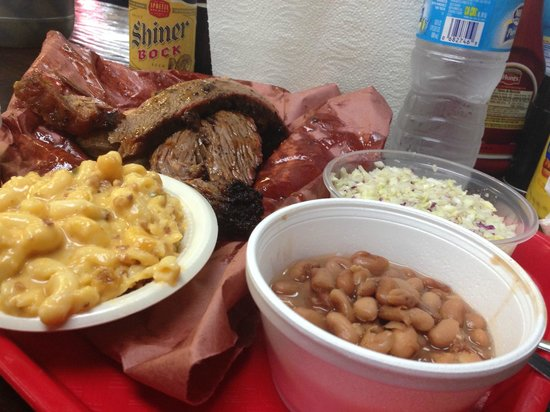 Coopers BBQ: Brisket, jalapeno mac & cheese, coleslaw, and beans