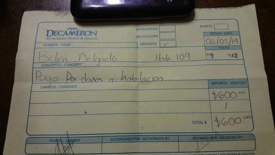 Royal Decameron Los Cabos: RECIBO