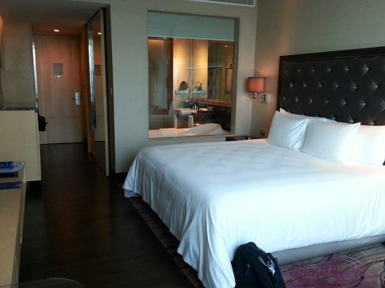 Radisson Blu Plaza Bangkok : You can have privacy in the bathroom with an electric powered blind