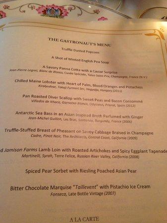 Inn at Little Washington: The Gastronaut's Menu