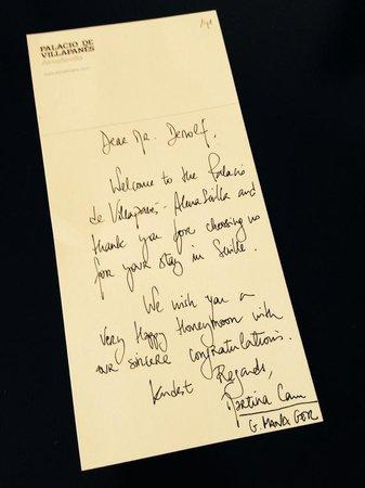 Hotel Palacio de Villapanes : welcome note