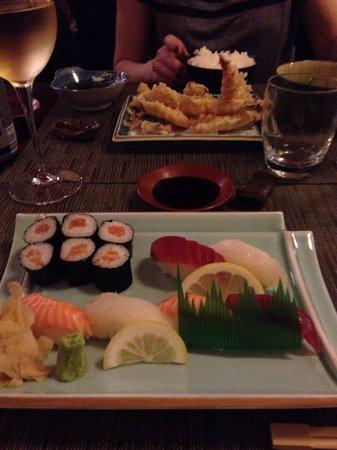Sushi selection and tempura mix