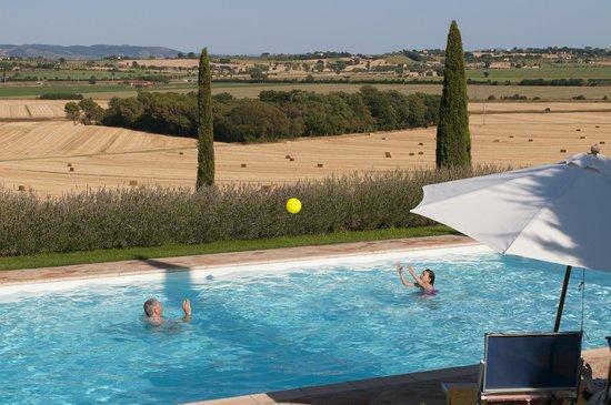 Casale di Brolio: Cortona vista dalla piscina