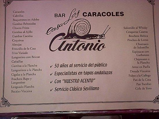 Casa Antonio Los Caracoles: Les spécialités de la maison