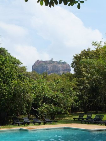 Sigiriya Village Hotel : View of Sigiriya Rock from hotel pool