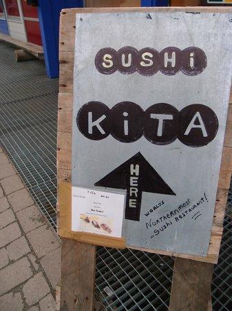 Sushi KITA: なんか暖かみのある看板