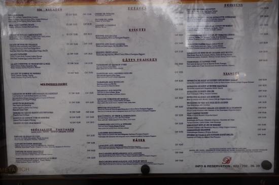 Bagatelle : menu