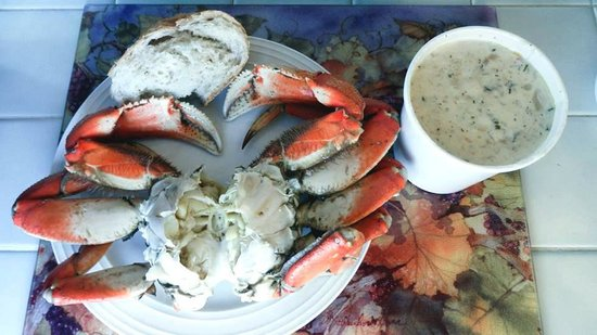 Clam Chowder ,Bread and Crab from Spud Point Crab Company