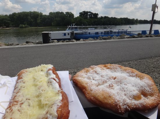 Langos Stand : Ham and sugar Langos at the waterside.