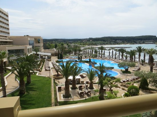 Sani Beach: The view from the balcony towards the largest pool