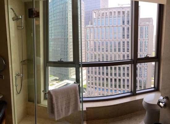 DoubleTree by Hilton Shanghai Pudong: Bathroom with a view.