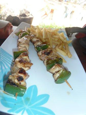 Playa Bluff Beach Restaurant: skewers