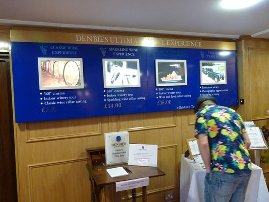 Denbies Wine Estate: in reception . . . several options available for your visit
