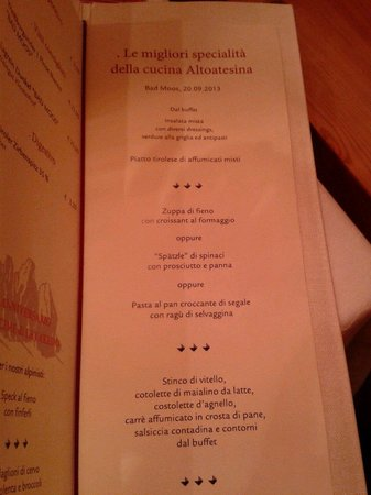 BAD MOOS - Dolomites Spa Resort : menu'